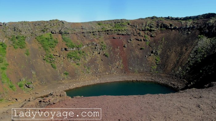 Kerið lake in volcano crater, considered as one of the most beautiful crater lakes in the world. Iceland