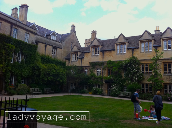 Student picnic in the yard of one college in Oxford, United Kingdom