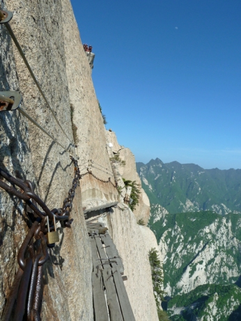 Mt. Huashan Hiking Trail in China. Photo borrowed from Travelsofmike.com